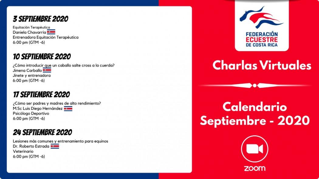 Calendario Charlas Virtuales del Mes de Septiembre