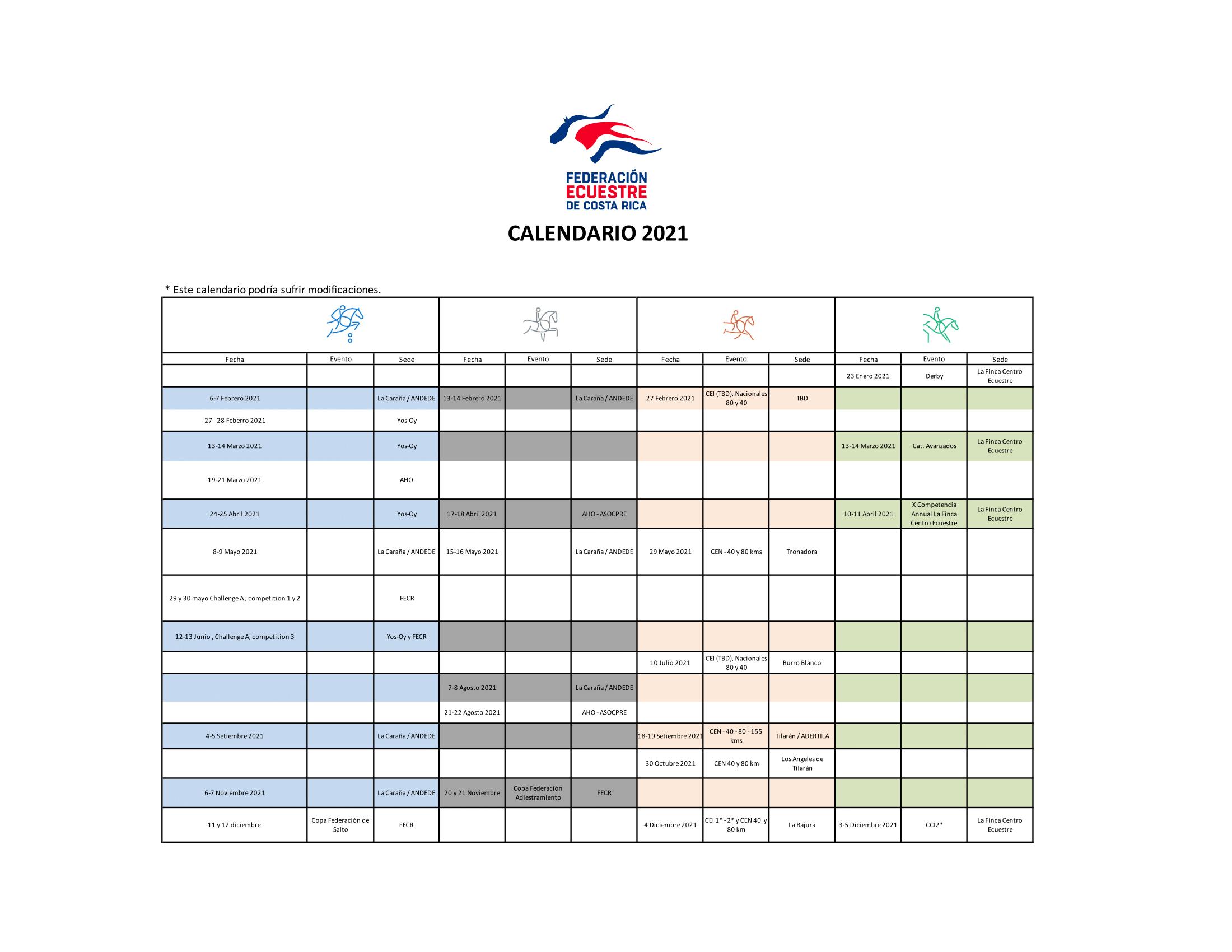 Calendario Competencias 2021
