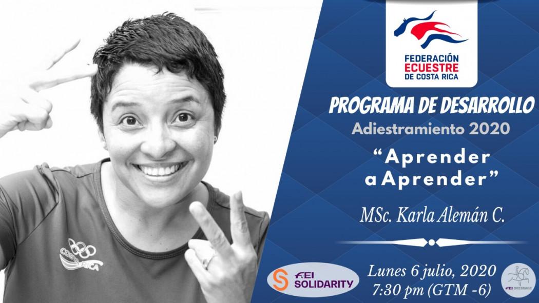 """Charla Virtual: """"Aprender a Aprender"""" - MSc. Karla Alemán (CRC)"""