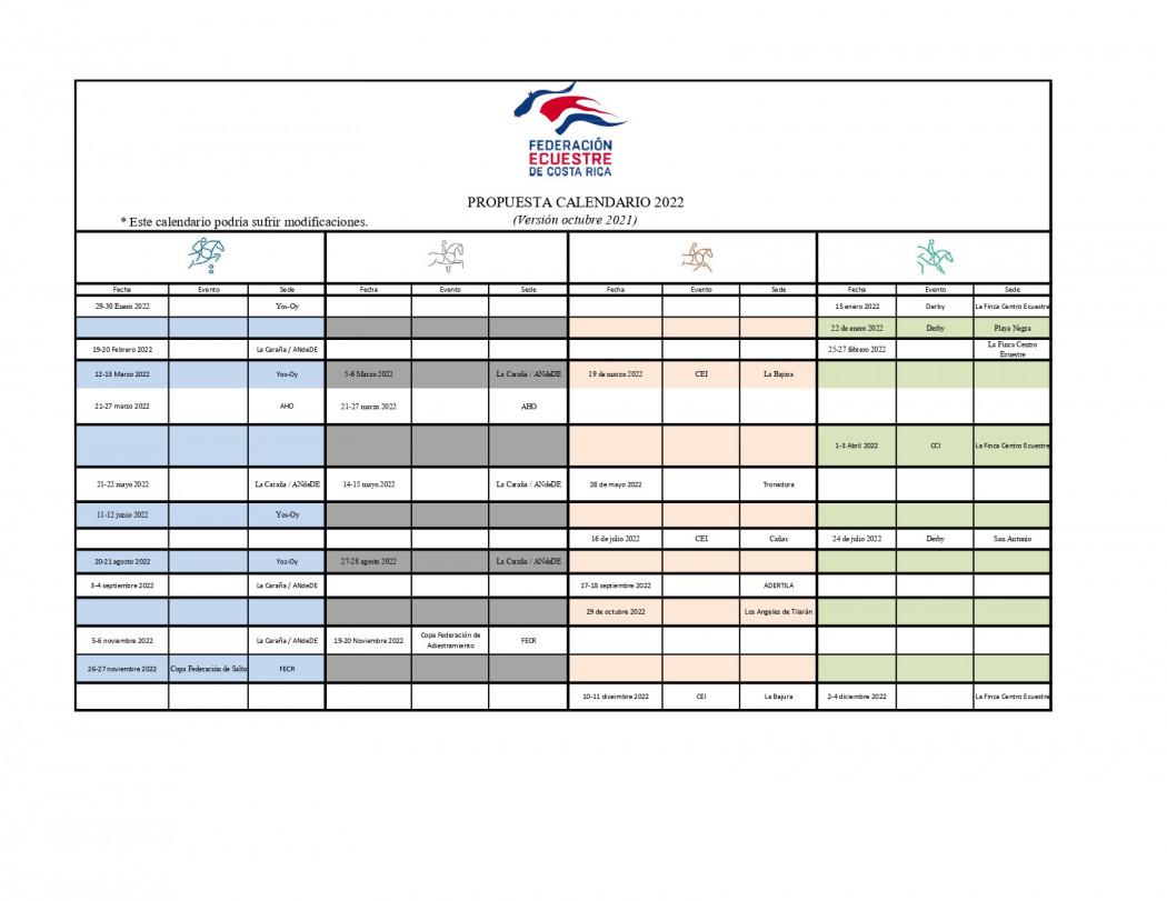 Calendario de Competencias 2022 - FECR